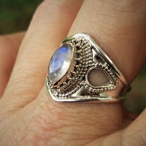 Moonstone sterling silver ring size 9 1/4
